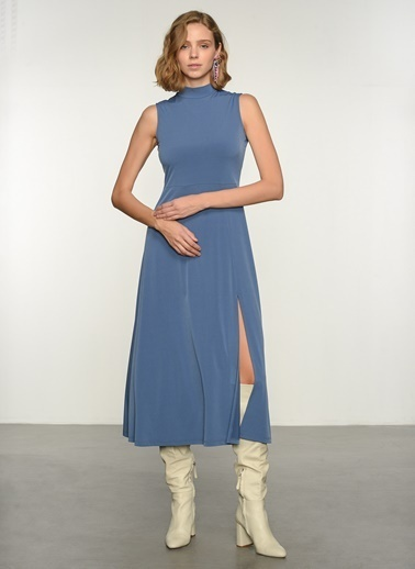 NGSTYLE Ngkss21El0018 Örme Yırtmaç Detaylı Günlük Kolsuz Elbise İndigo